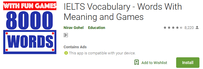 IELTS Vocabulary - Words With Meaning and Games