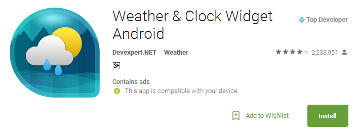 Weather & Clock Widget Android App