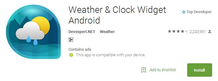 Weather & Clock Widget Android App