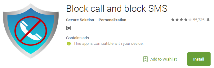 Block call and block SMS App