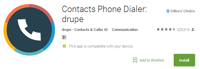 Contacts Phone Dialer - drupe App