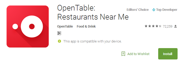 OpenTable App Restaurants