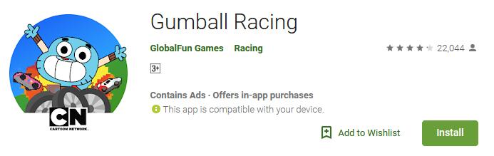Download Gumball Racing Game app