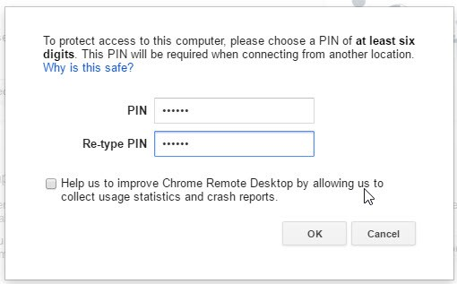 install the Chrome remote desktop