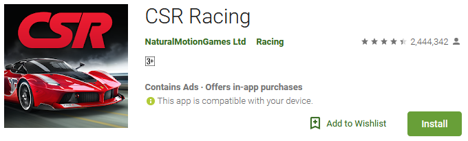 csr racing 2 game download for android