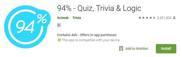 Download 94% - Quiz Trivia & Logic