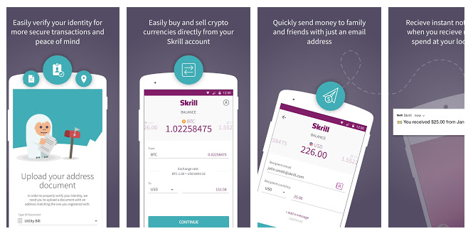 Skrill App to send money