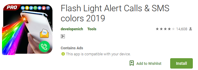 Flash Light Alert Calls & SMS colors 2019